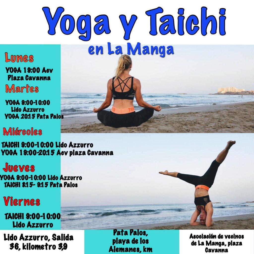 HORARIOS y centros para Yoga y Tai Chi LA MANGA 2019 verano